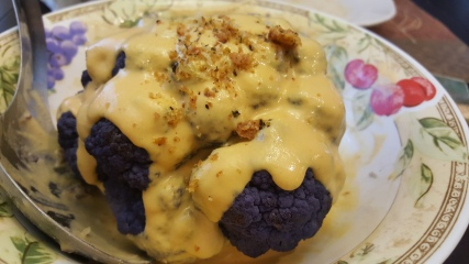 No-Cheese Sauce and bread crumbs over Purple Cauliflower